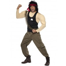 Rambo Costume, Muscle Top & Trousers